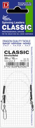 Przypon Dragon Quick Lock Invisible Fluorocarbon 8kg Classic 15 2 Szt.